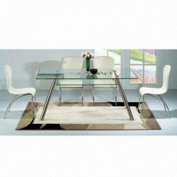 Dining Table with Clear Tempered Glass Tops